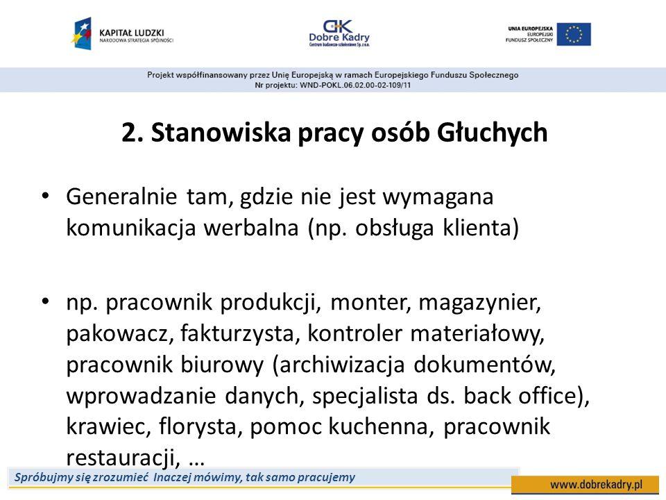 2. Stanowiska pracy osób Głuchych
