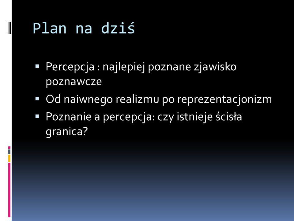 Plan na dziś Percepcja : najlepiej poznane zjawisko poznawcze