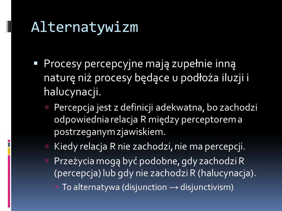 Alternatywizm Procesy percepcyjne mają zupełnie inną naturę niż procesy będące u podłoża iluzji i halucynacji.