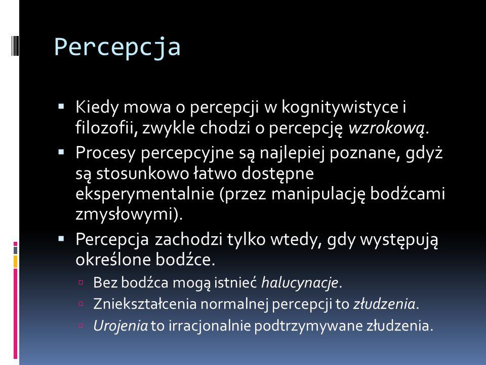 Percepcja Kiedy mowa o percepcji w kognitywistyce i filozofii, zwykle chodzi o percepcję wzrokową.