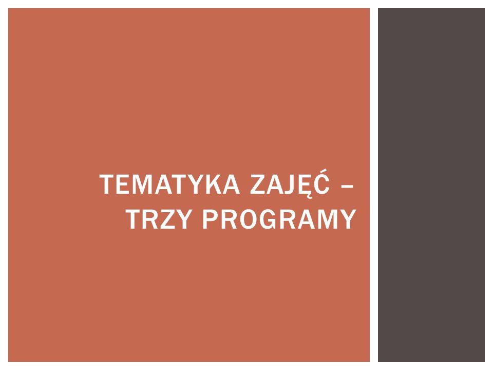 Tematyka zajęć – trzy programy