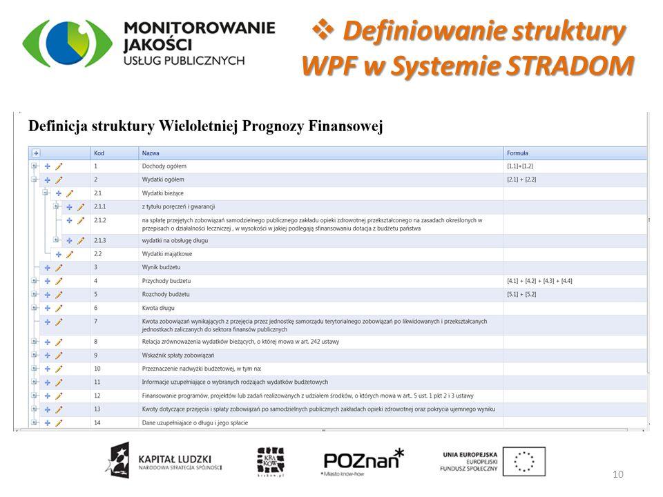Definiowanie struktury WPF w Systemie STRADOM