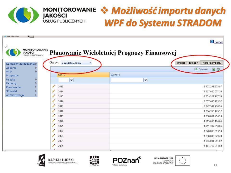 Możliwość importu danych WPF do Systemu STRADOM