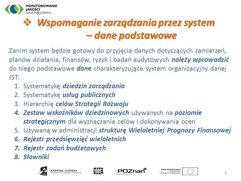 Wspomaganie zarządzania przez system – dane podstawowe