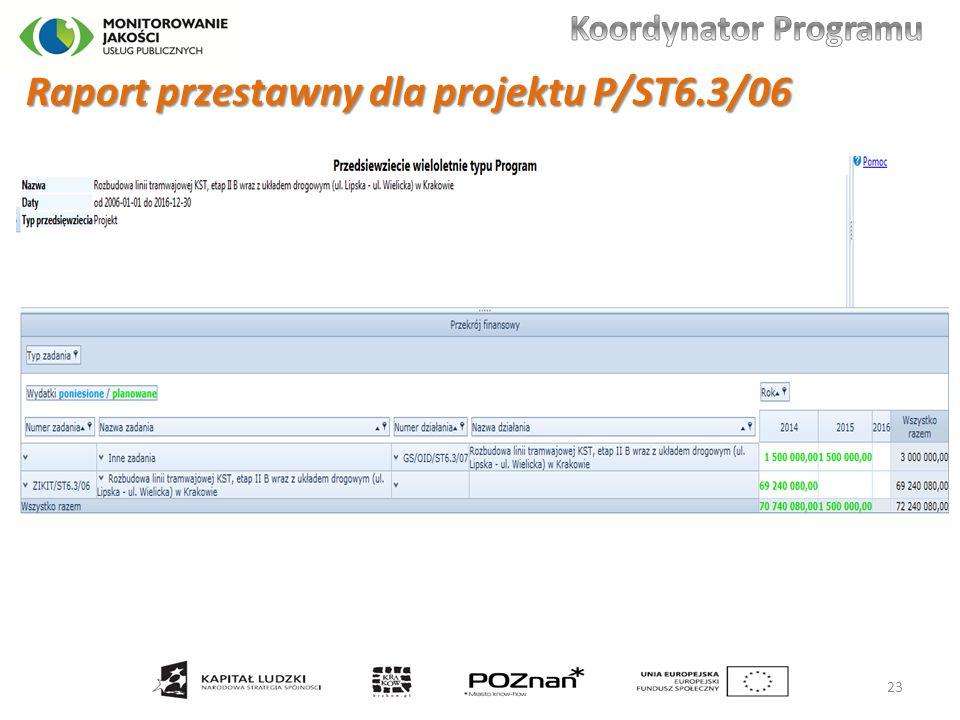 Raport przestawny dla projektu P/ST6.3/06