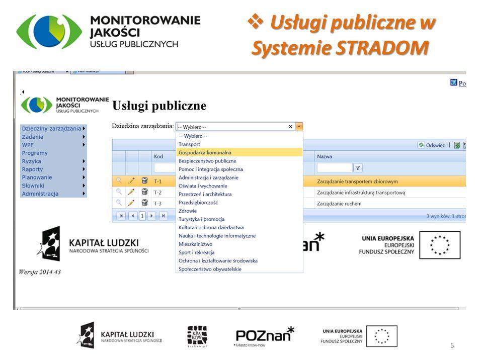 Usługi publiczne w Systemie STRADOM