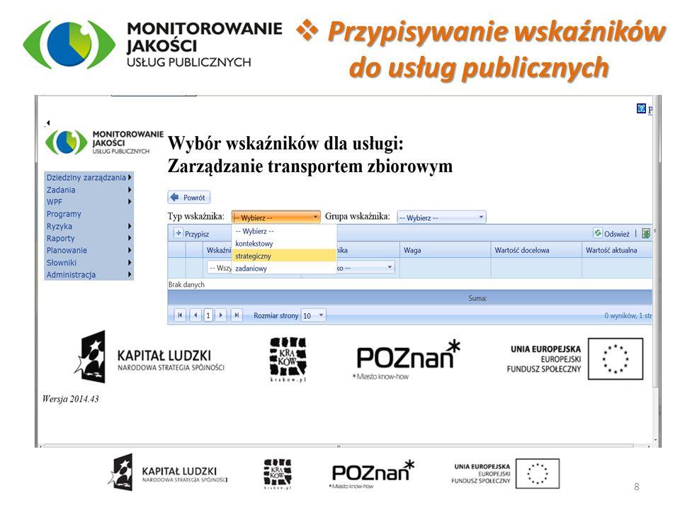 Przypisywanie wskaźników do usług publicznych