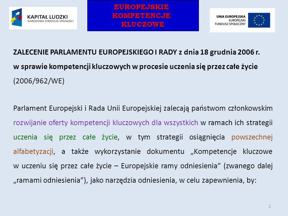 ZALECENIE PARLAMENTU EUROPEJSKIEGO I RADY z dnia 18 grudnia 2006 r.
