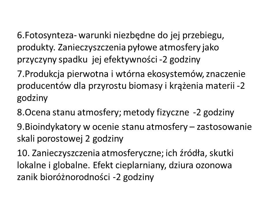 6. Fotosynteza- warunki niezbędne do jej przebiegu, produkty