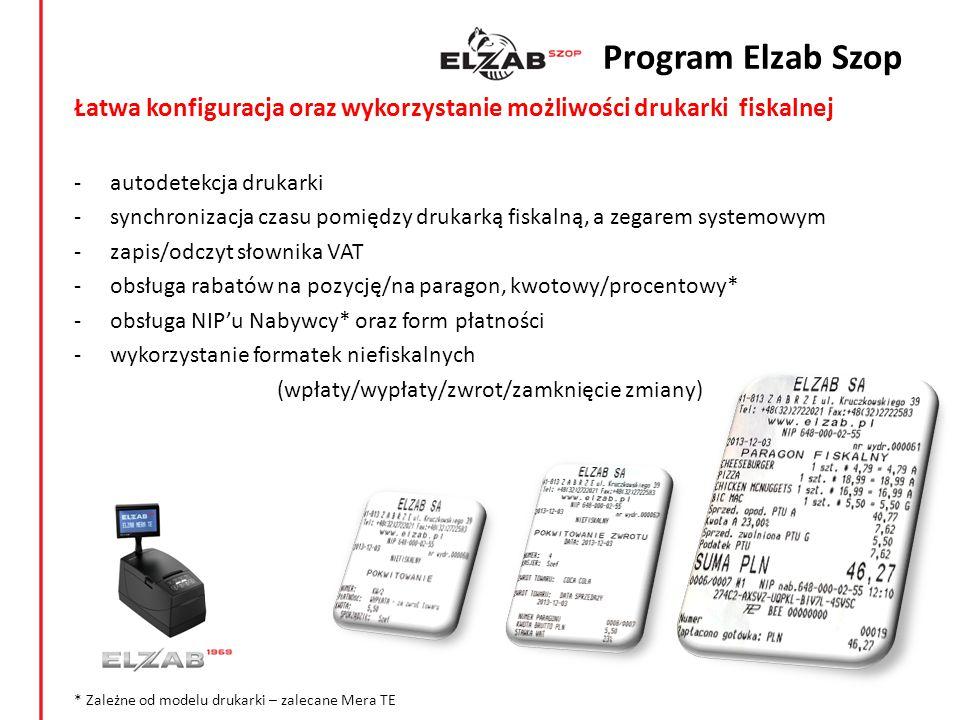 Program Elzab Szop Łatwa konfiguracja oraz wykorzystanie możliwości drukarki fiskalnej. autodetekcja drukarki.