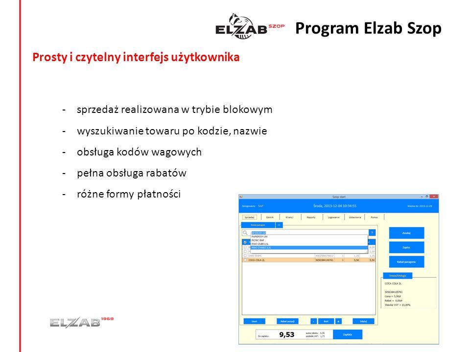 Program Elzab Szop Prosty i czytelny interfejs użytkownika
