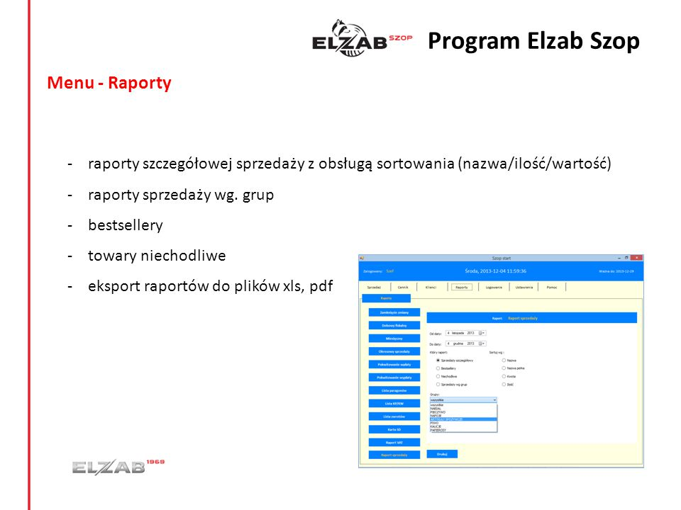 Program Elzab Szop Menu - Raporty