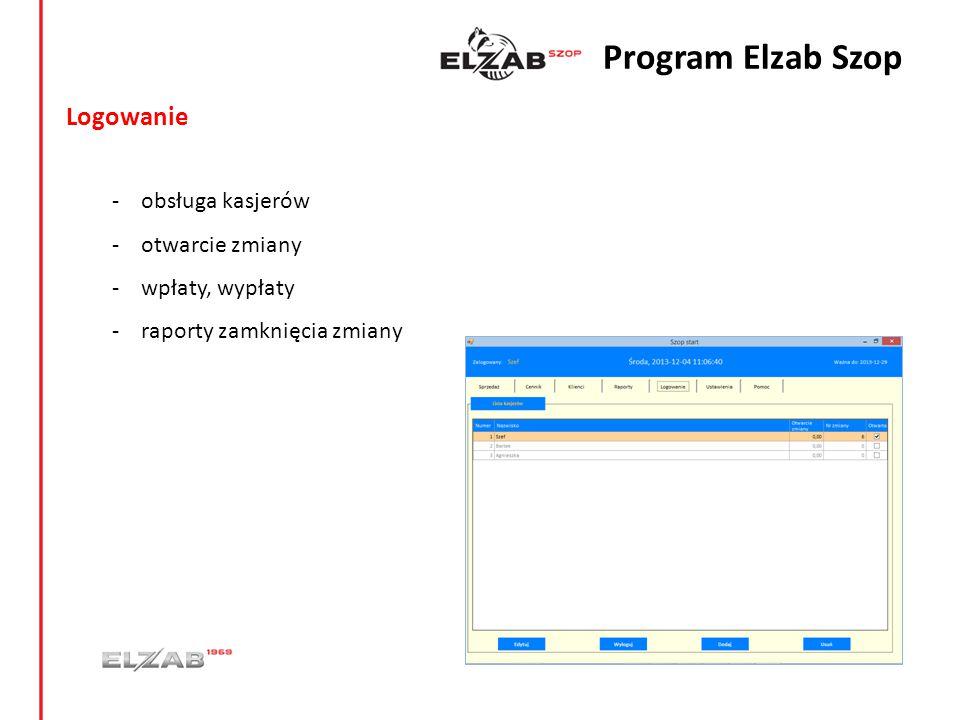 Program Elzab Szop Logowanie obsługa kasjerów otwarcie zmiany