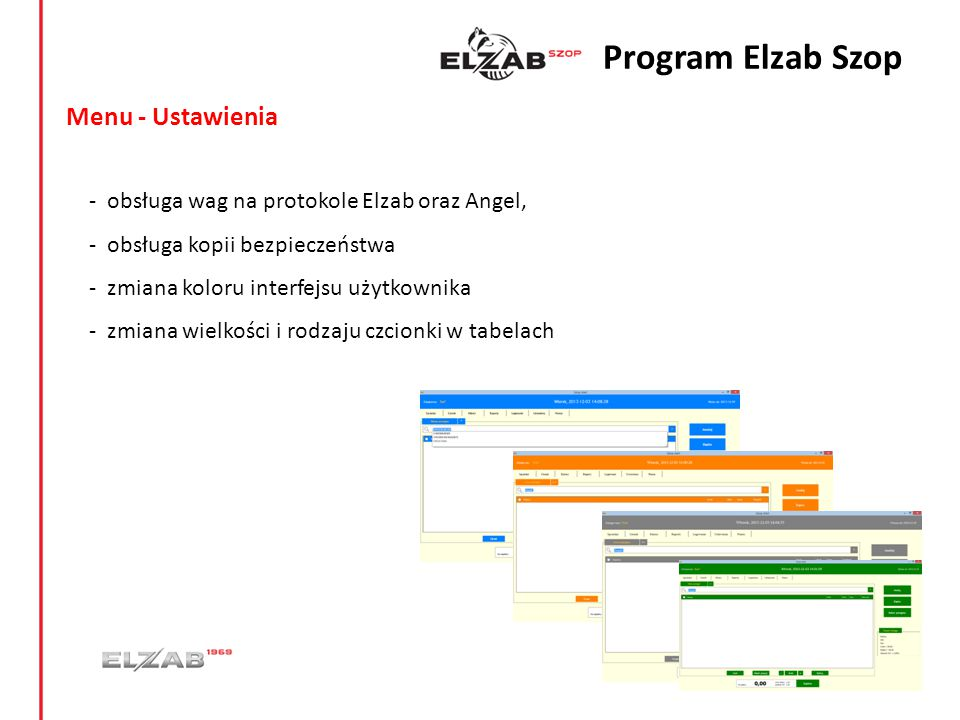 Program Elzab Szop Menu - Ustawienia