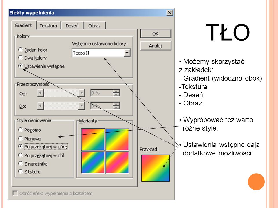 TŁO Możemy skorzystać z zakładek: Gradient (widoczna obok) Tekstura