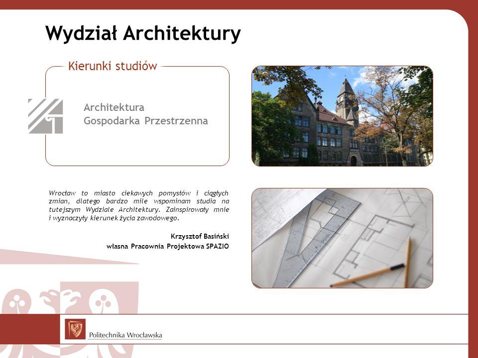 Wydział Architektury Kierunki studiów Architektura