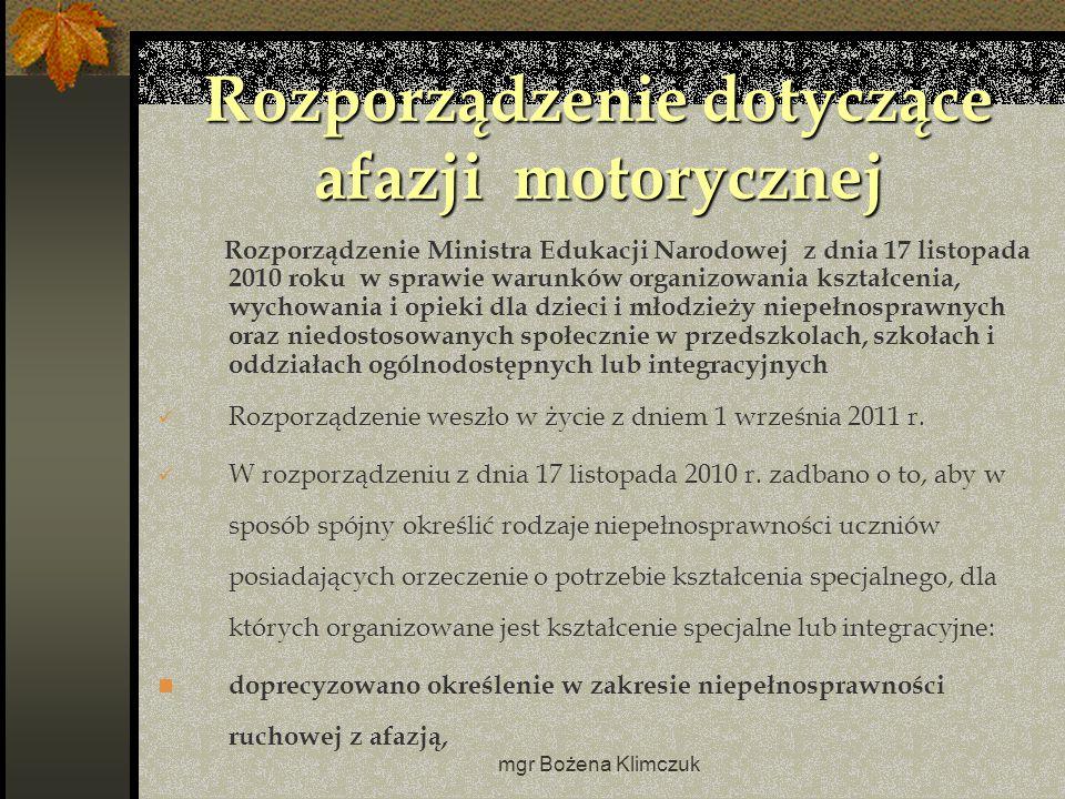 Rozporządzenie dotyczące afazji motorycznej