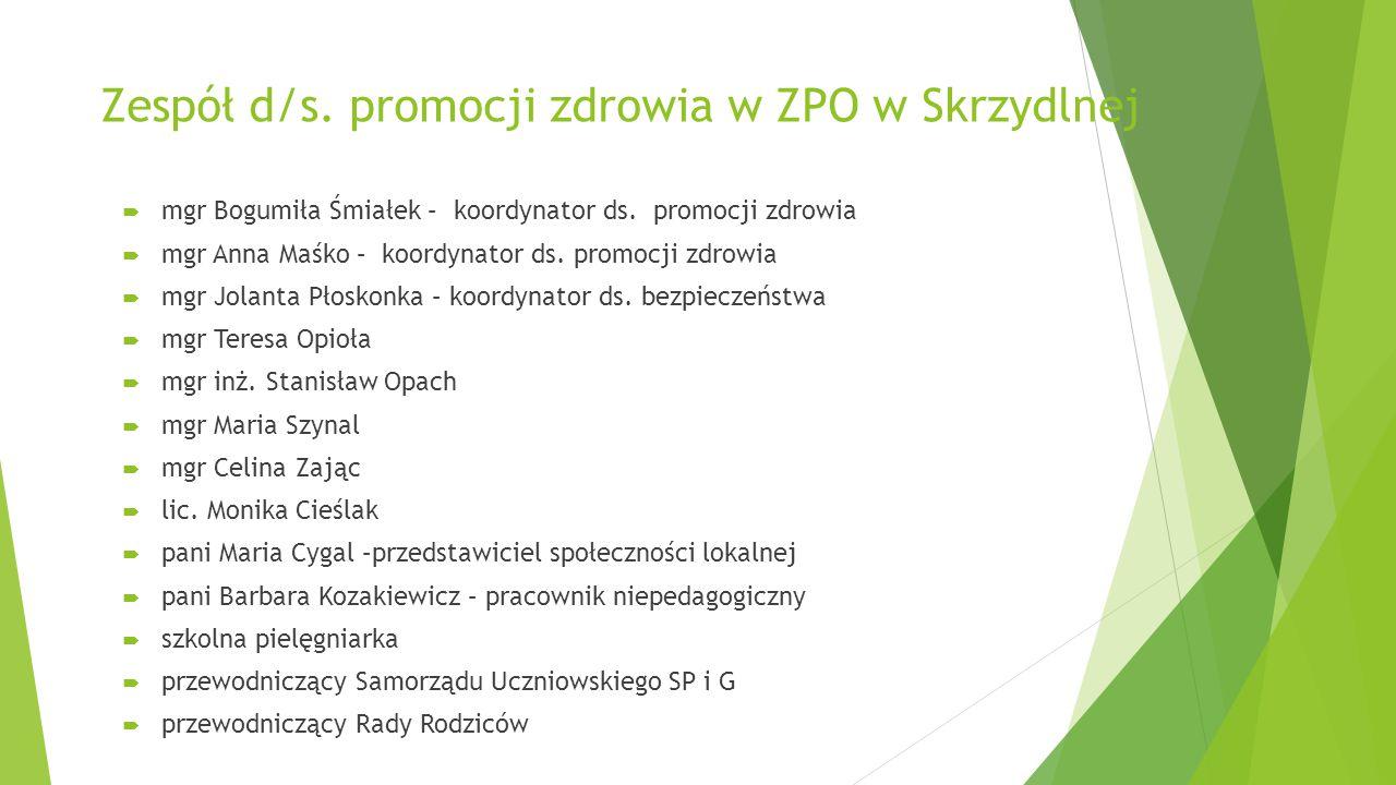 Zespół d/s. promocji zdrowia w ZPO w Skrzydlnej