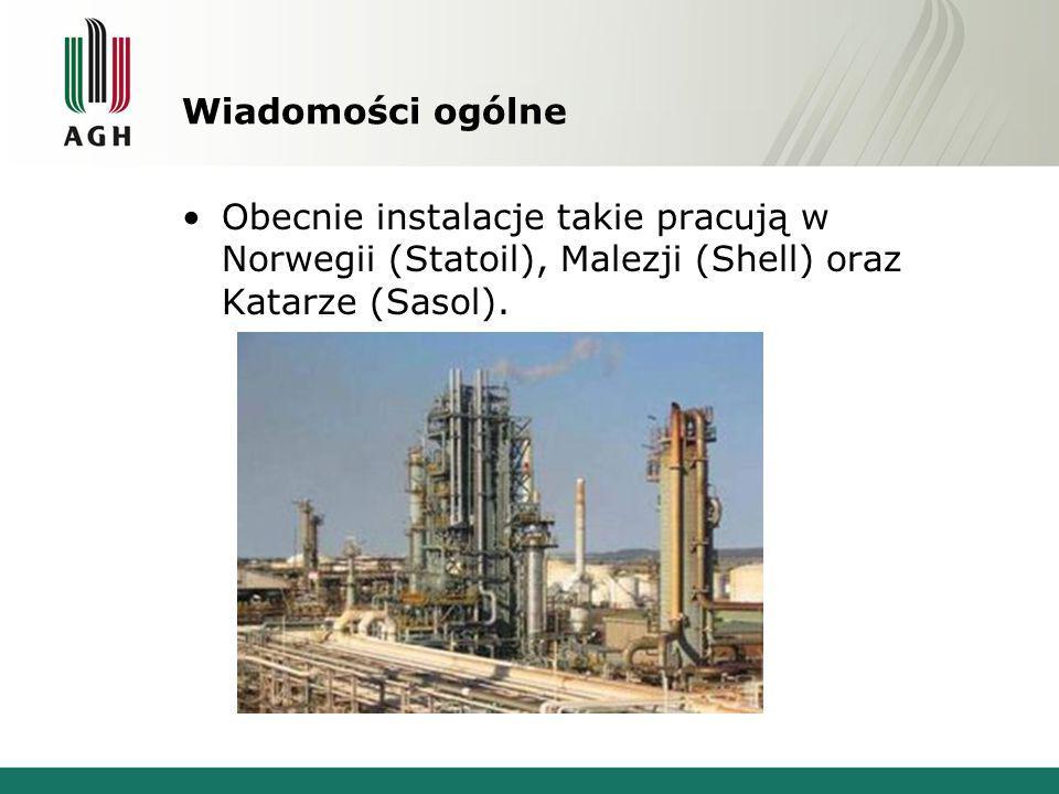 Wiadomości ogólne Obecnie instalacje takie pracują w Norwegii (Statoil), Malezji (Shell) oraz Katarze (Sasol).