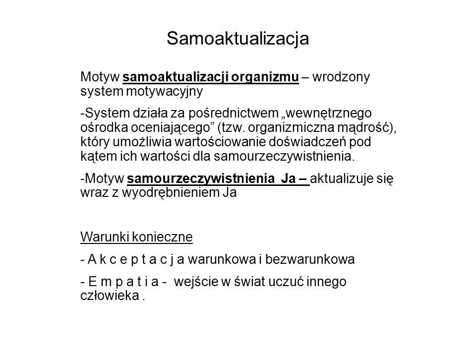 Samoaktualizacja Motyw samoaktualizacji organizmu – wrodzony system motywacyjny.
