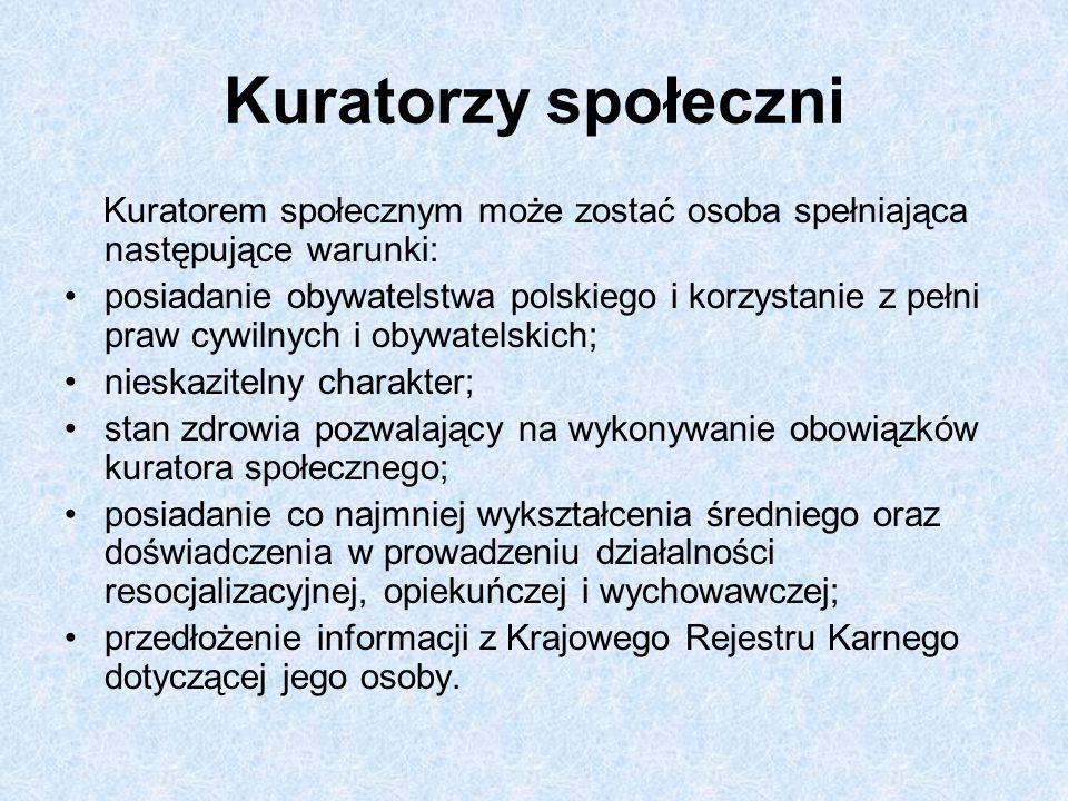 Kuratorzy społeczni Kuratorem społecznym może zostać osoba spełniająca następujące warunki: