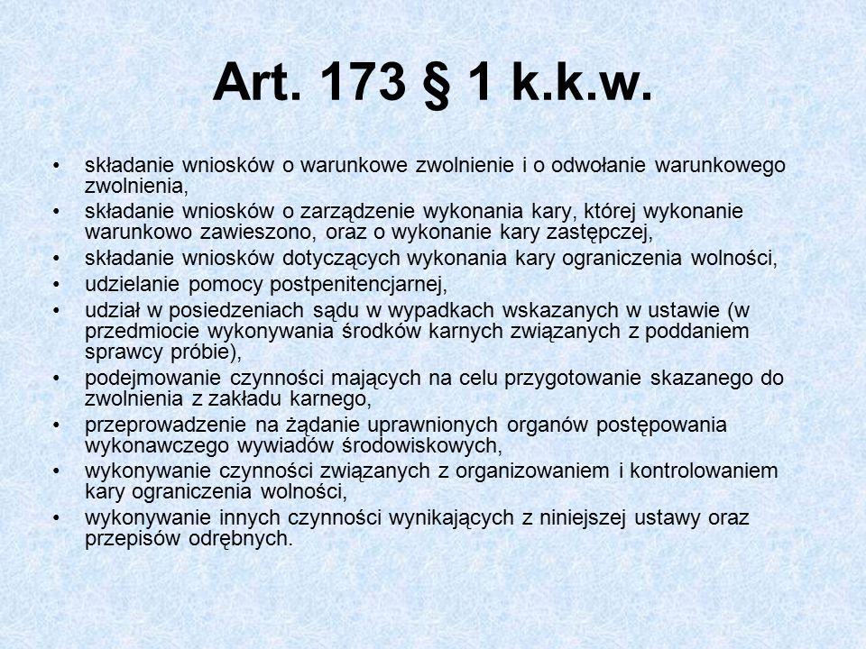 Art. 173 § 1 k.k.w. składanie wniosków o warunkowe zwolnienie i o odwołanie warunkowego zwolnienia,