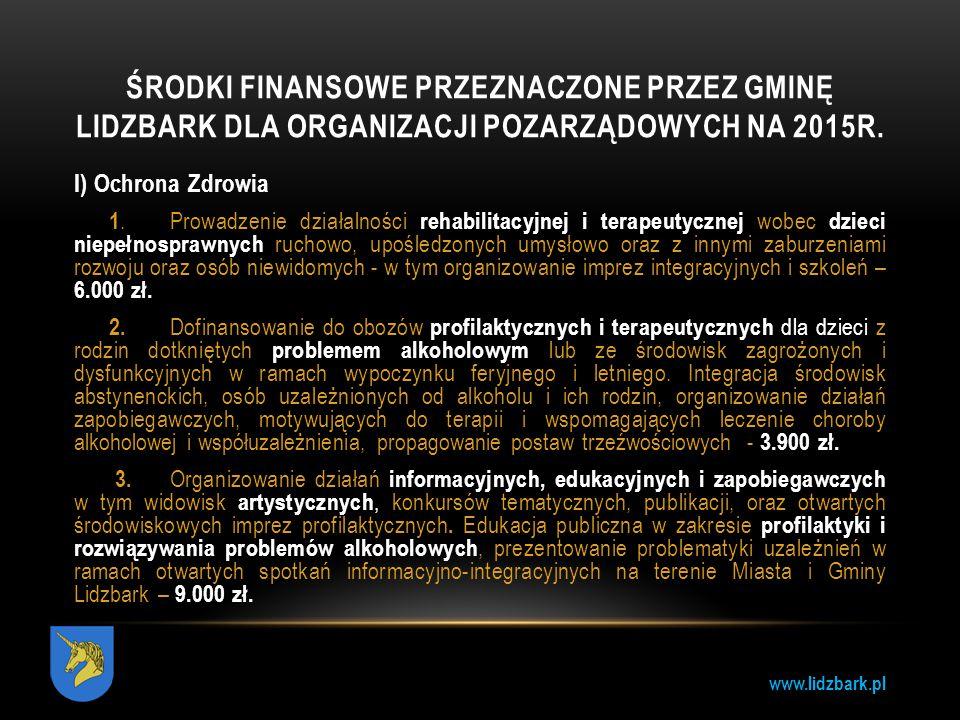 Środki Finansowe przeznaczone przez gminę lidzbark dla organizacji pozarządowych na 2015r.