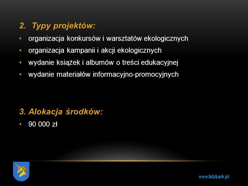 Typy projektów: 3. Alokacja środków: