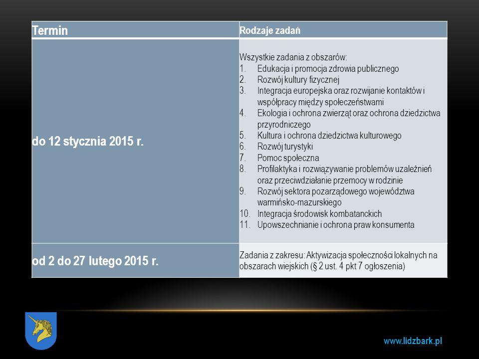 Termin do 12 stycznia 2015 r. od 2 do 27 lutego 2015 r. Rodzaje zadań