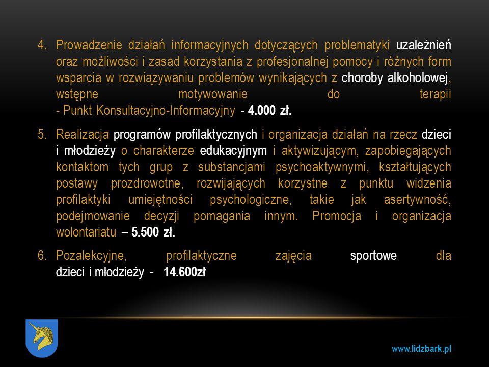 Prowadzenie działań informacyjnych dotyczących problematyki uzależnień oraz możliwości i zasad korzystania z profesjonalnej pomocy i różnych form wsparcia w rozwiązywaniu problemów wynikających z choroby alkoholowej, wstępne motywowanie do terapii - Punkt Konsultacyjno-Informacyjny - 4.000 zł.