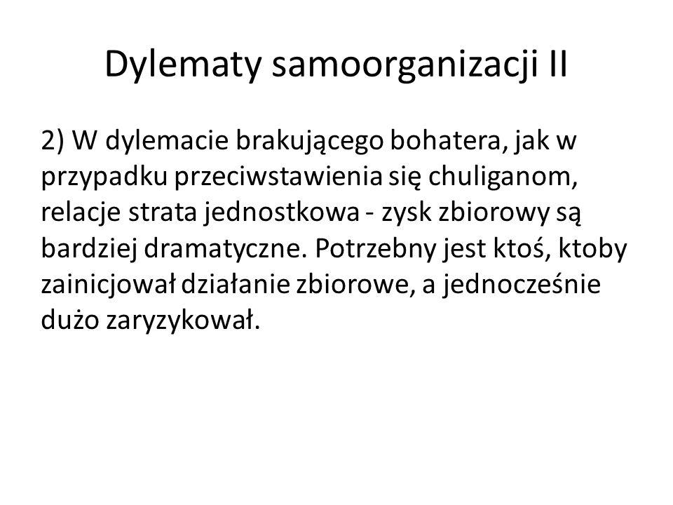 Dylematy samoorganizacji II