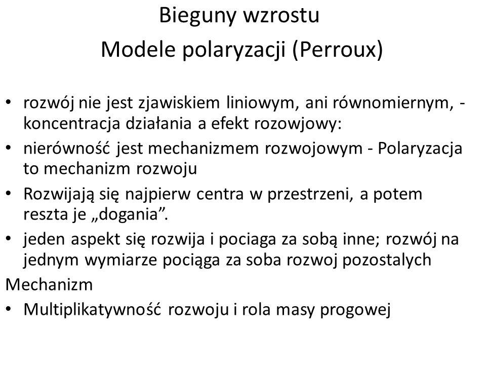 Bieguny wzrostu Modele polaryzacji (Perroux)