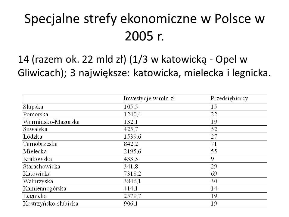 Specjalne strefy ekonomiczne w Polsce w 2005 r.