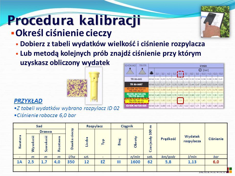 Procedura kalibracji Określ ciśnienie cieczy