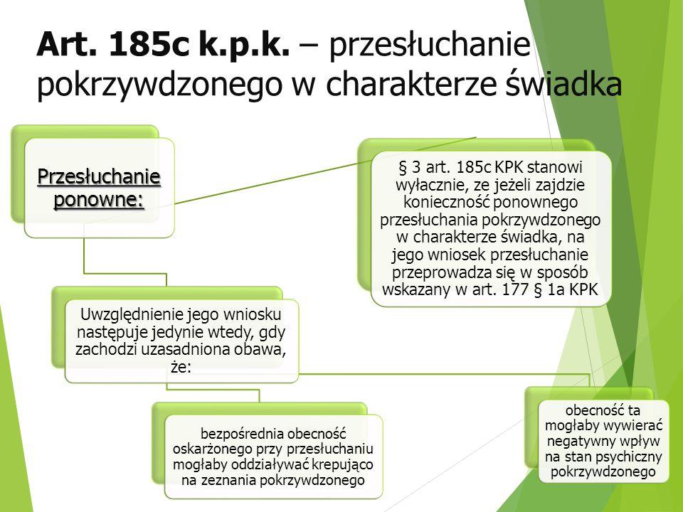 Art. 185c k.p.k. – przesłuchanie pokrzywdzonego w charakterze świadka