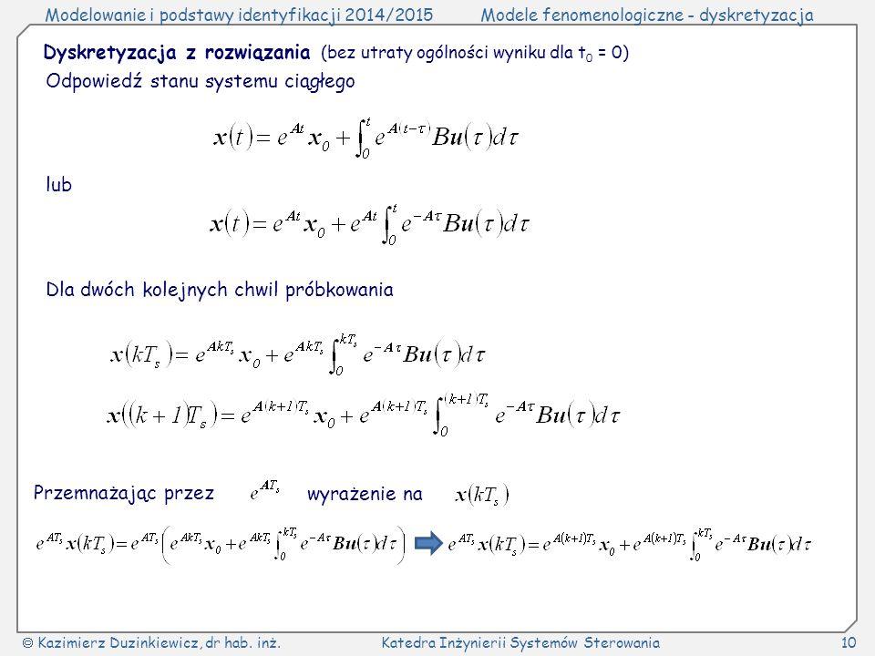 Dyskretyzacja z rozwiązania (bez utraty ogólności wyniku dla t0 = 0)