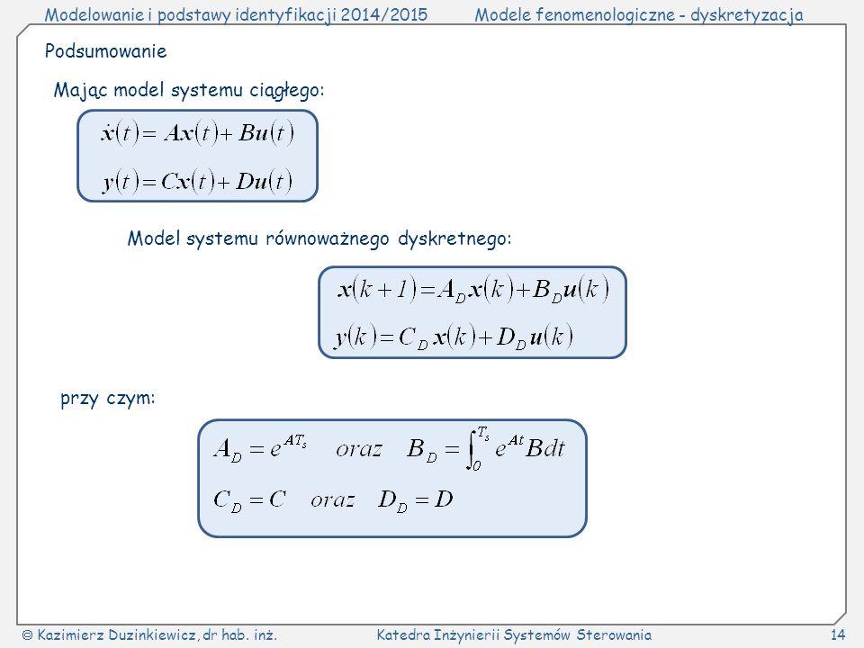 Podsumowanie Mając model systemu ciągłego: Model systemu równoważnego dyskretnego: przy czym: