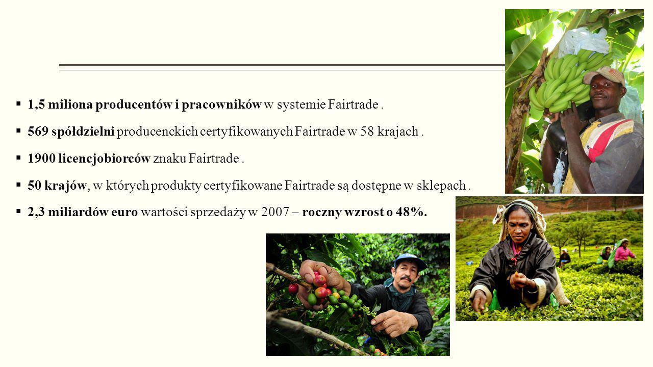 1,5 miliona producentów i pracowników w systemie Fairtrade .