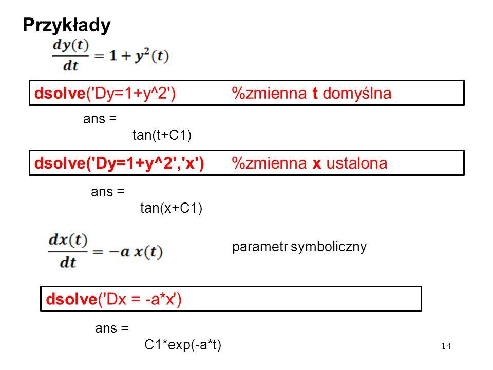 Przykłady dsolve( Dy=1+y^2 ) %zmienna t domyślna