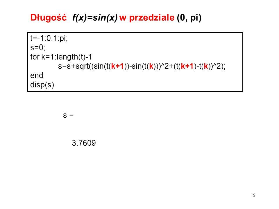 Długość f(x)=sin(x) w przedziale (0, pi)