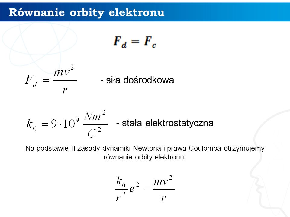 Równanie orbity elektronu