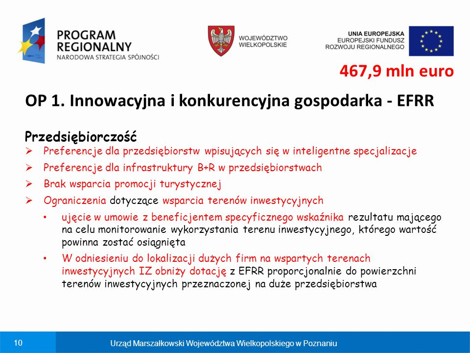 OP 1. Innowacyjna i konkurencyjna gospodarka - EFRR