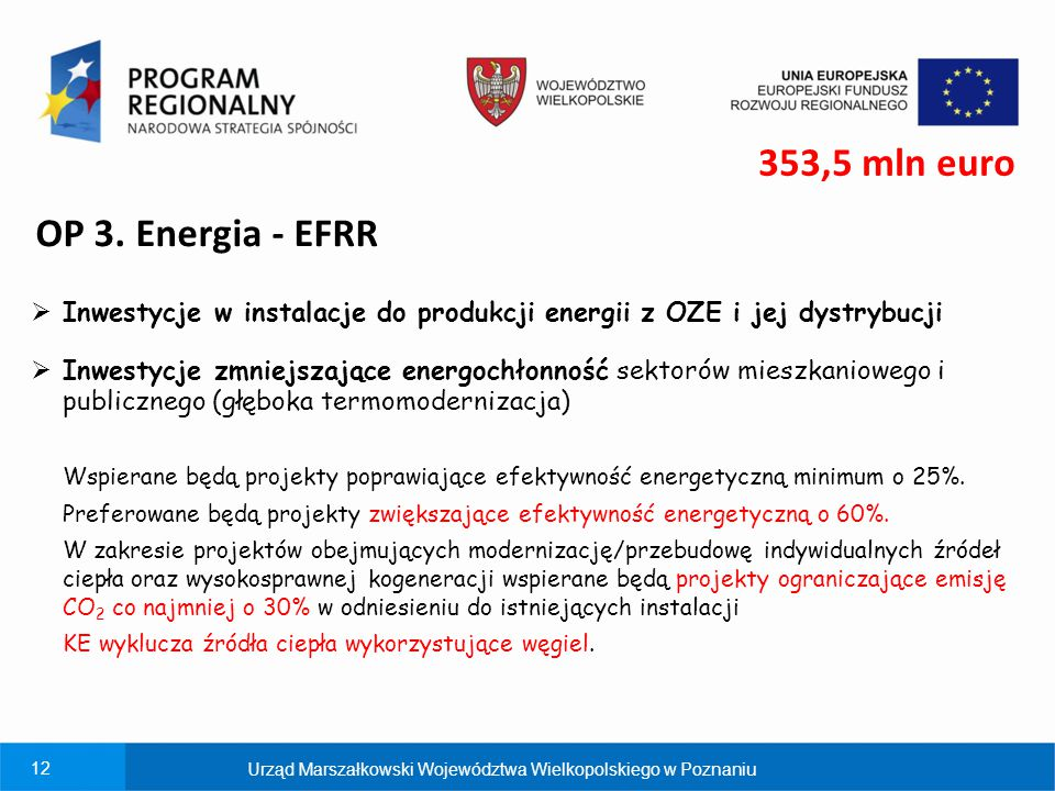 353,5 mln euro OP 3. Energia - EFRR