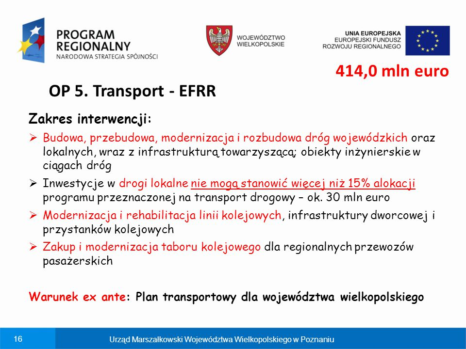 414,0 mln euro OP 5. Transport - EFRR Zakres interwencji: