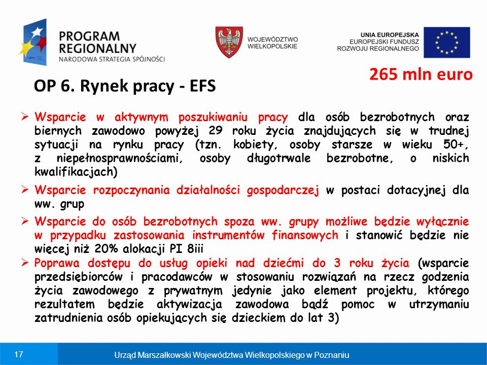 265 mln euro OP 6. Rynek pracy - EFS