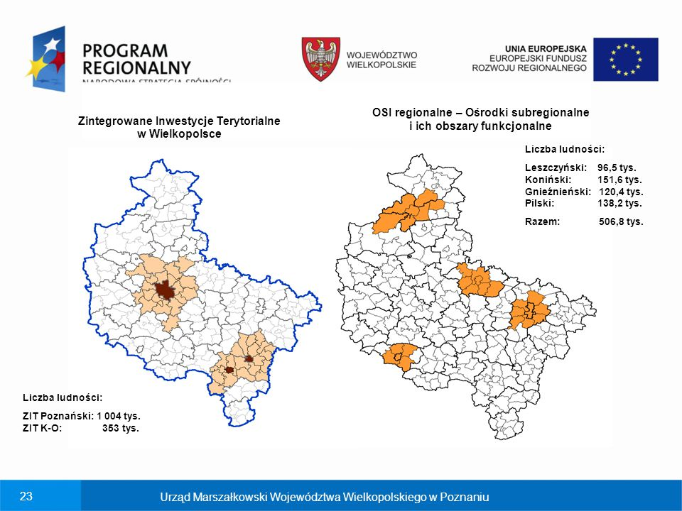 ko OSI regionalne – Ośrodki subregionalne i ich obszary funkcjonalne