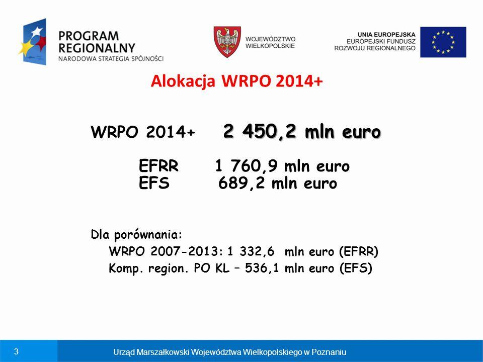 Alokacja WRPO 2014+ WRPO 2014+ 2 450,2 mln euro EFRR 1 760,9 mln euro