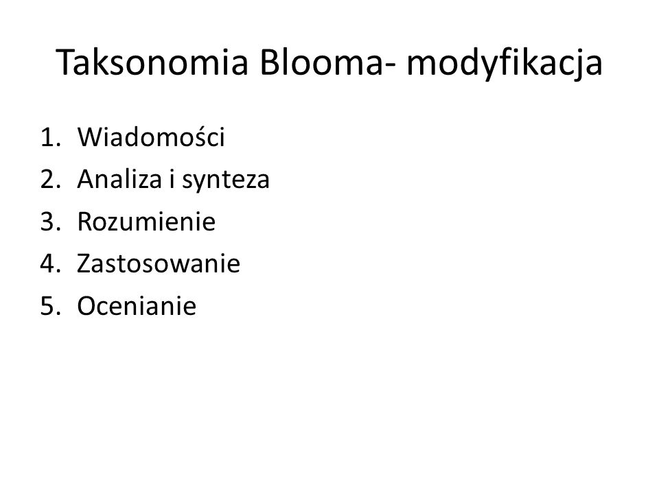 Taksonomia Blooma- modyfikacja
