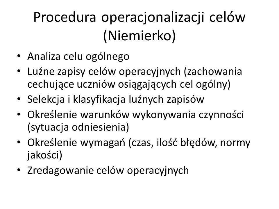 Procedura operacjonalizacji celów (Niemierko)