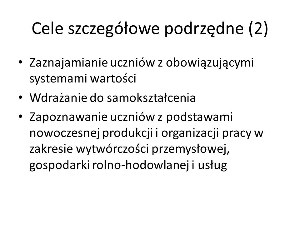 Cele szczegółowe podrzędne (2)